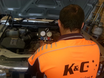 An engine being worked on by K&C